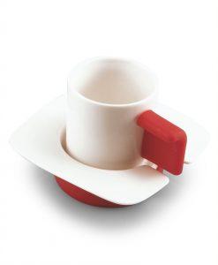 Coppia Tazze Caffè (bianco/rosso)